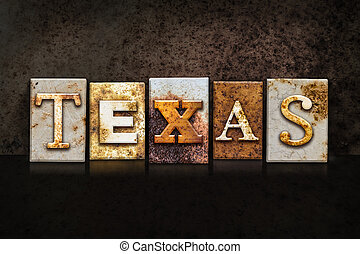 Texas Letterpress Concept on Dark Background