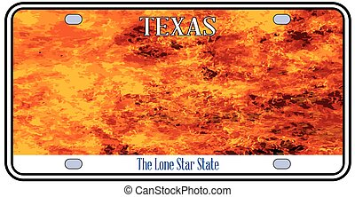 Texas License Plate Flames - Texas License Plate in flame...