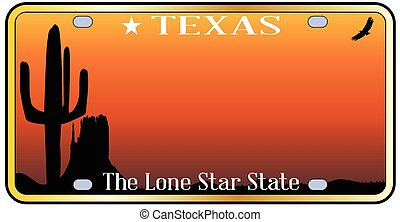 Texas License Plate - Texas state license plate with sky and...