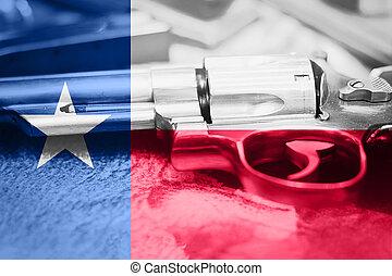 texas lobogó, (u.s., state), pisztoly irányít, usa., egyesült államok, pisztoly, laws.