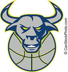 Texas Longhorn Bull Head Basketball - Illustration of a...