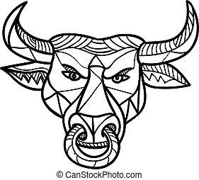 Texas Longhorn Bull Head Mosaic - Mosaic low polygon style...