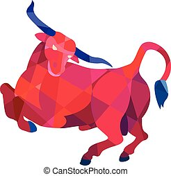 Texas Longhorn Bull Prancing Low Polygon - Low polygon style...