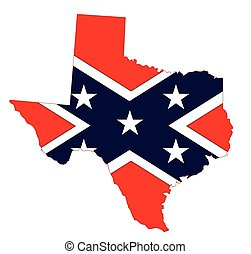Outline of the state of Texas with confederate flag isolated
