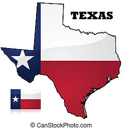 Map and flag of the state of Texas, in the United States of America
