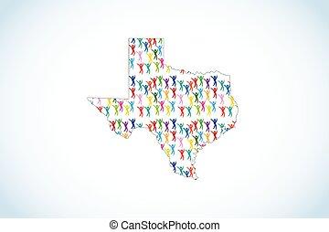 Texas map diversity unity people