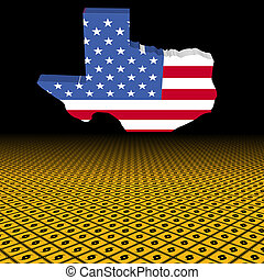 Texas map flag with hurricane warning sign foreground illustration