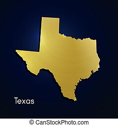 Texas Map Gold Texture On Blue Background