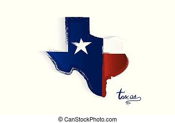 Texas map grunge logo