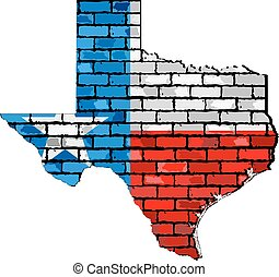 Texas map on a brick wall - Illustration, The state of Texas...