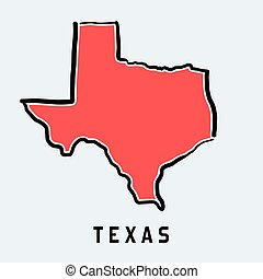 Texas map outline - smooth simplified US state shape map vector.