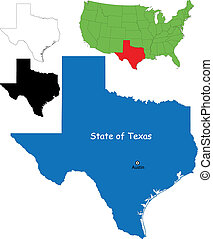 Texas map - State of Texas, USA