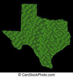 Texas map with binary