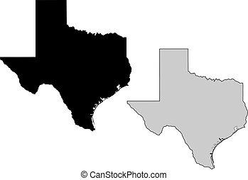 texas, map., zwarte en, white., mercator, projection.