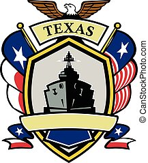 Texas Navy Battleship Flag Icon - Icon style illustration of...