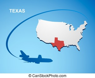 Texas state on usa map texas flag and map us states vector