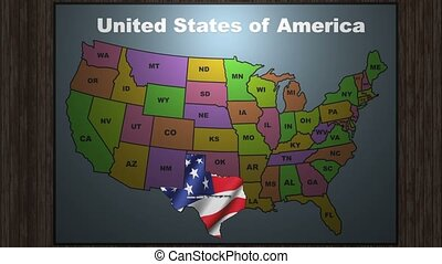 State Texas pull out from USA map with american flag on background. A map of the US showing the two-letter abbreviation for each state. All 50 states available.