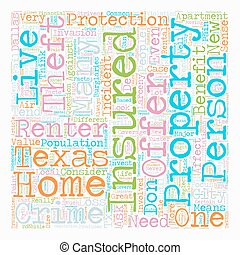 Texas Renters Insurance text background wordcloud concept