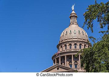 texas, rivière, vues, aérien, colorado, ville, austin, long