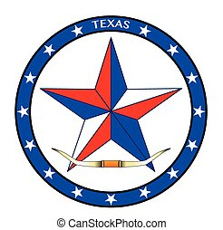 A texas red white and blue star with cattle horns