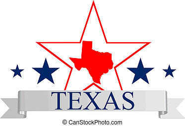 Texas state map, star and name.