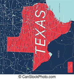 Texas state detailed editable map