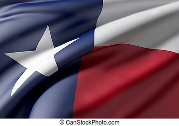 Texas State flag - 3d rendering of a Texas State flag waving