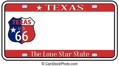 Texas State License Plate - Texas state license plate in the...