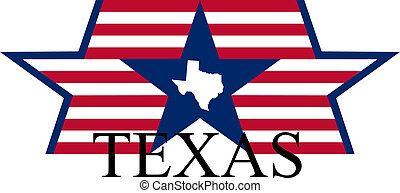 Texas state map, flag and name.