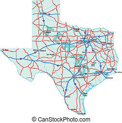 Texas State Road Map - Texas state road map with Interstates...