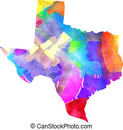 Texas State Watercolor Map