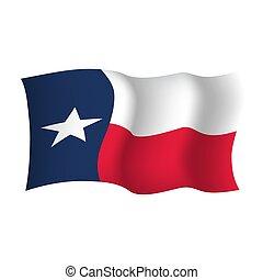 Texas state waving flag. Vector illustration of Texas state flag, USA