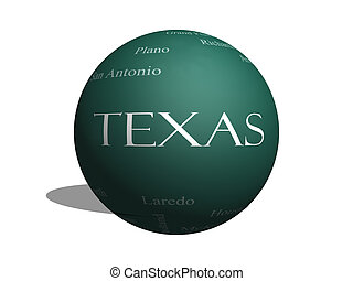 Texas State Word Cloud Concept on a 3D sphere Blackboard