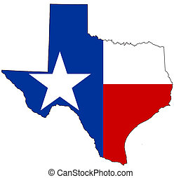 Texas - Texan map, filled with its flag as background.
