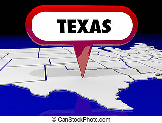 texas, tx, carte état, épingle, emplacement, destination, 3d, illustration