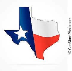 texas tx state map with waving flag vector