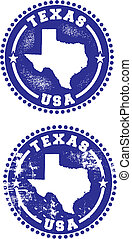 Texas USA Stamps - A couple of distressed stamps featuring a...