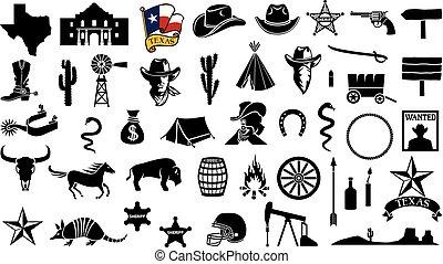 Texas vector icons set (flag, the Battle of the Alamo design, map, spurs, cowboy head, horse, gun, arrow, cactus, sheriff star, hat, boot, horseshoe, football helmet, oil pump jack, bull skull)