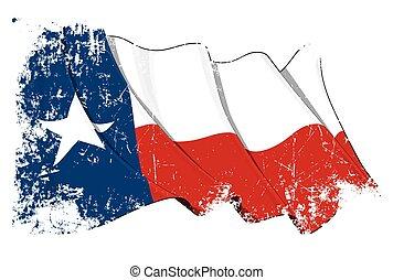 Texas Waving Flag Grunge - Vector Illustration of a waving...