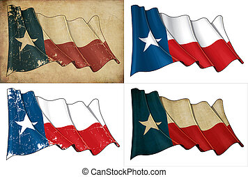 Texas Waving Flag Set - Set of Illustrations of a waving ...