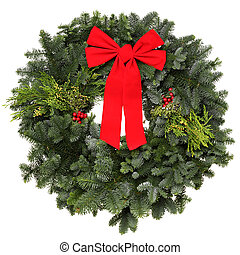 Texas Wreath - Beautiful evergreen Christmas wreath with red...