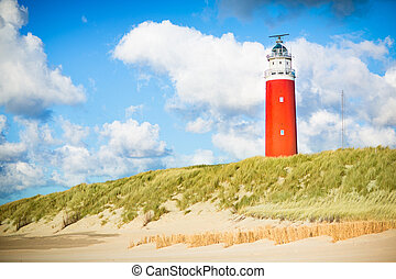 Beautiful red lighthouse of Texel island in the North Sea in Holland, Netherlands