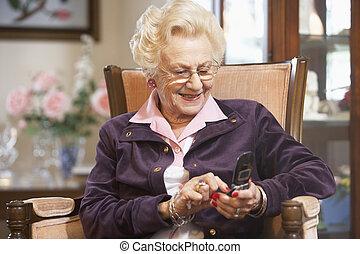 text, ältere frau, messaging
