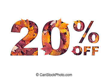 text 20 percent off filled with texture of red fall maple leaves