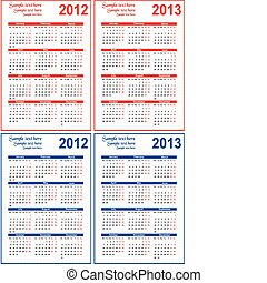 text, 2012, kalender, 2013, rum