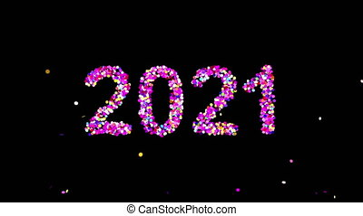Text 2021 Appearing From Confetti Explosions On Black Background With Alpha matte. 4K.