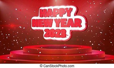 text, 2023, podium, animation, jahr, konfetti, neu , glücklich, schleife, buehne