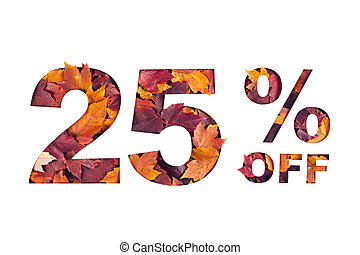 text 25 percent off filled with texture of red fall maple leaves