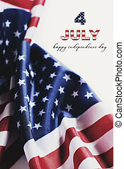 text 4 of july happy independence day and US flags