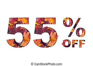 text 55 percent off filled with texture of red fall maple leaves